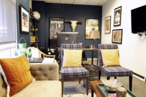 producers office, masculine, interior design, vintage, sophisticated, navy paint, leather, office design, Marilynn Taylor