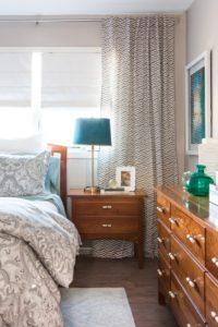 Bedroom, interior design, Marilynn Taylor, teal, gray, west elm, Anthropologie, romantic, blue, design, property sisters