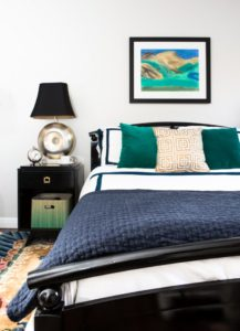 pasadena, bedroom, navy, green, gold, vintage, bedroom