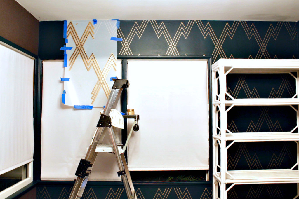dark & moody, office makeover, one room challenge, floral, mural, wallpaper, saturated, black walls, office, floral, sophisticated, Marilynn Taylor, Orange county, interior designer, consultant, Sherwin Williams, stencil library, chain lightning, stencil