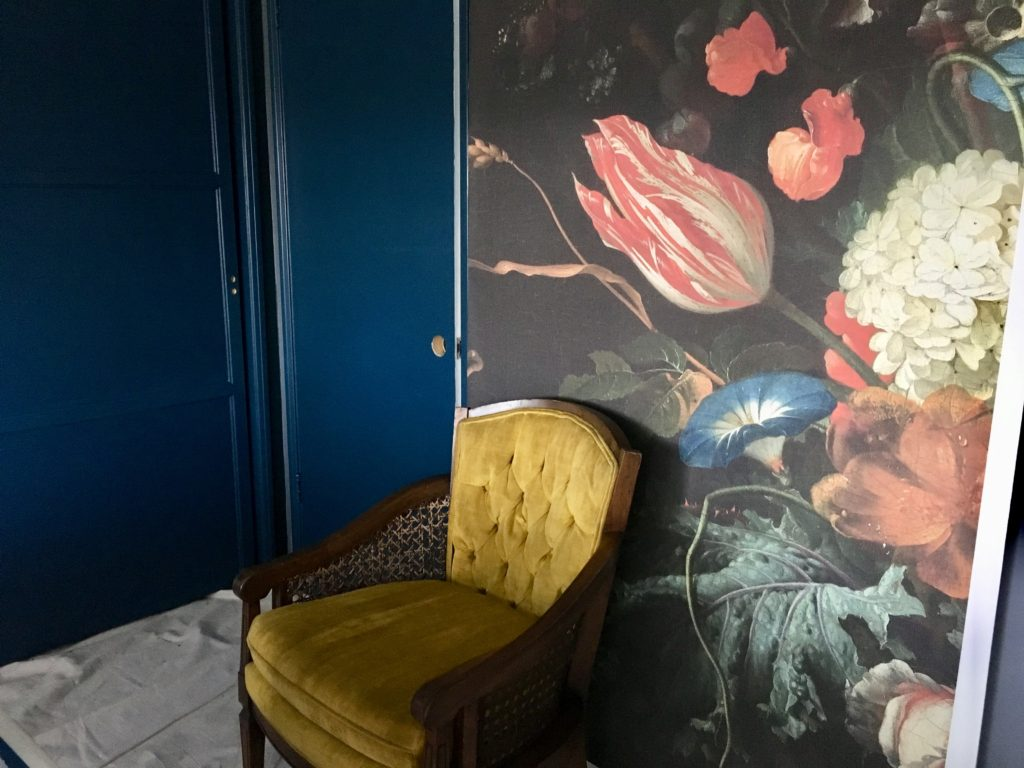 dark & moody, office makeover, one room challenge, floral, mural, wallpaper, saturated, black walls, office, floral, sophisticated, Marilynn Taylor, Orange county, interior designer, consultant, Sherwin Williams, paint