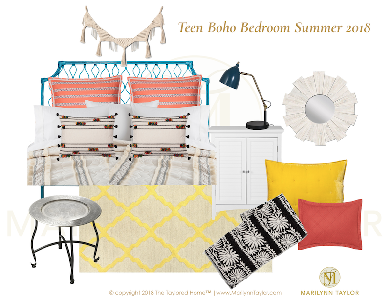 Marilyn Taylor, Marilynn Taylor, bohemian, boho, bedroom, teenager, teen decor, interior design, Target, Opalhouse, boho, World Market, Peacock headboard, rattan, downloadable, mood board, design plan