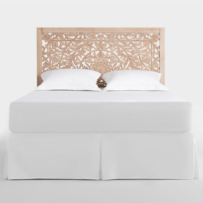 bohemian, moroccan, indian, world market, cost plus, headboard, bed, carved wood, bohemian, boho, bedroom