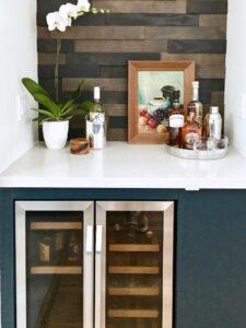 contemporary kitchen, kitchen design, navy cabinets, mixed materials, modern, Los Angeles, Marilynn Taylor, Property Sisters, walnut, semihandmade