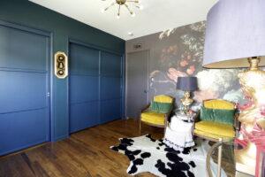 Dark, moody, office, maximalism, floral, wallpaper, one room challenge, dark paint, stencil, Marilynn Taylor, house beautiful