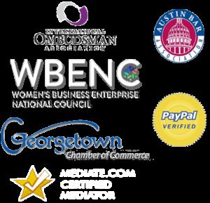 Our Affiliations: International Ombudsman Association, Austin Nar Association, PayPal Verified, Womens Business Enterprise National Council, Georgetown Chamber of Commerce, Mediate.com Certified Mediators
