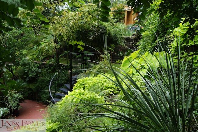 Spiral Staircases in a Hillside Garden