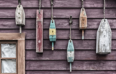 buoys hanging on wall