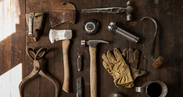 Tools on a workbench