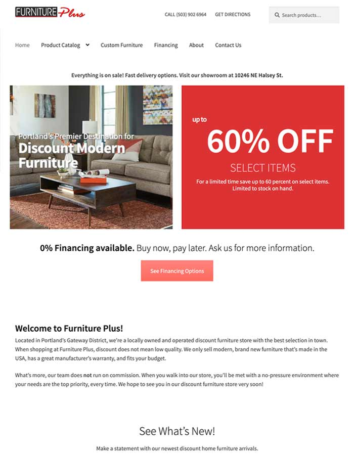 Featured Project | Furniture Plus | WordPress Website Project