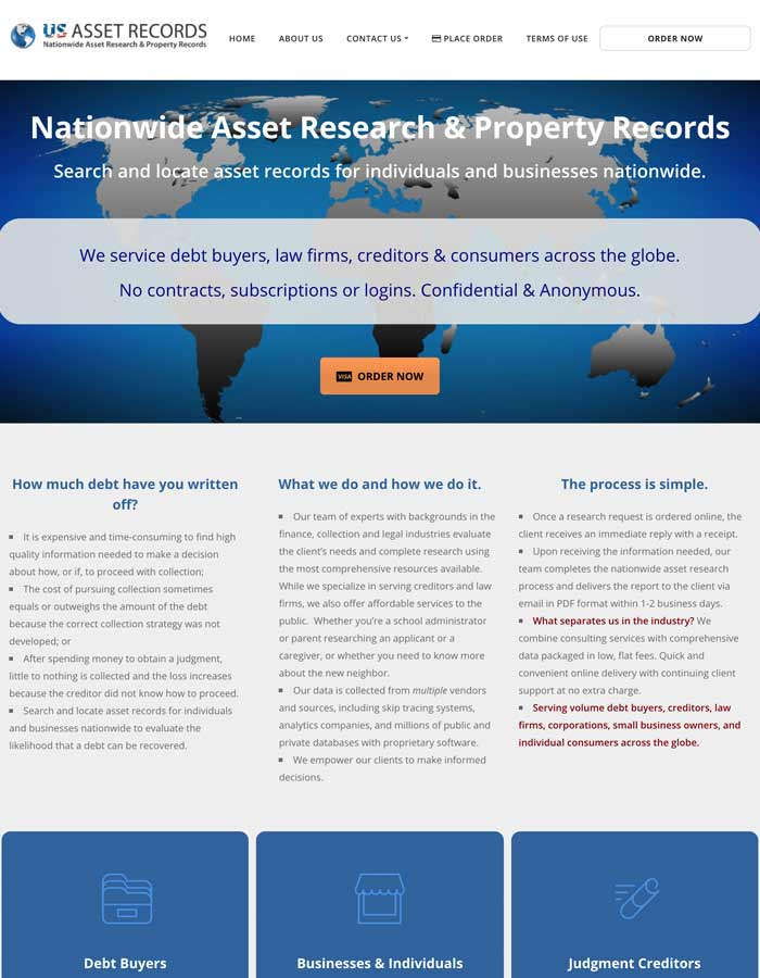 Featured Project | U.S. Asset Records | WordPress Website Project