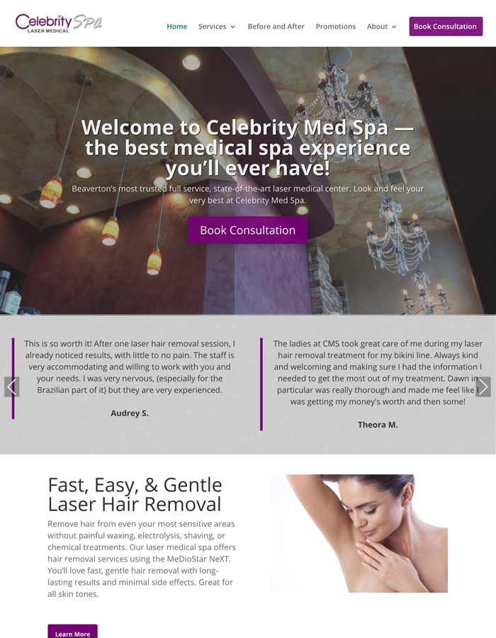 Featured Project | Celebrity Med Spa | WordPress Website Project
