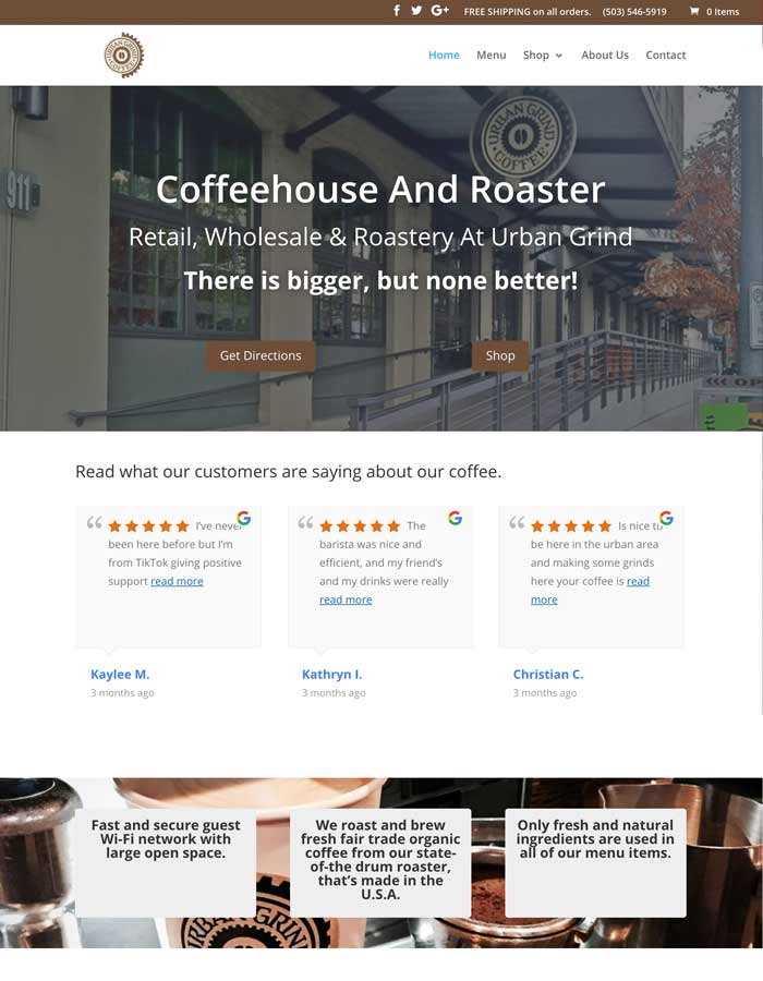 Featured Project | Urban Grind Coffeehouse And Roaster | WordPress Website Project