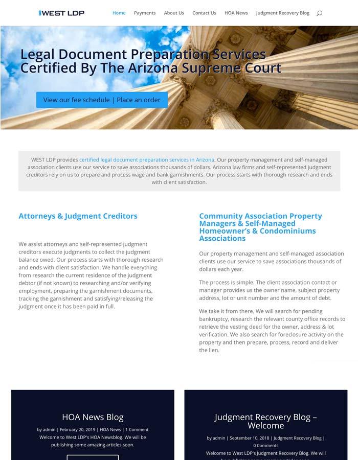 Featured Project | West LDP - Licensed Document Preparer Website | WordPress Website Project