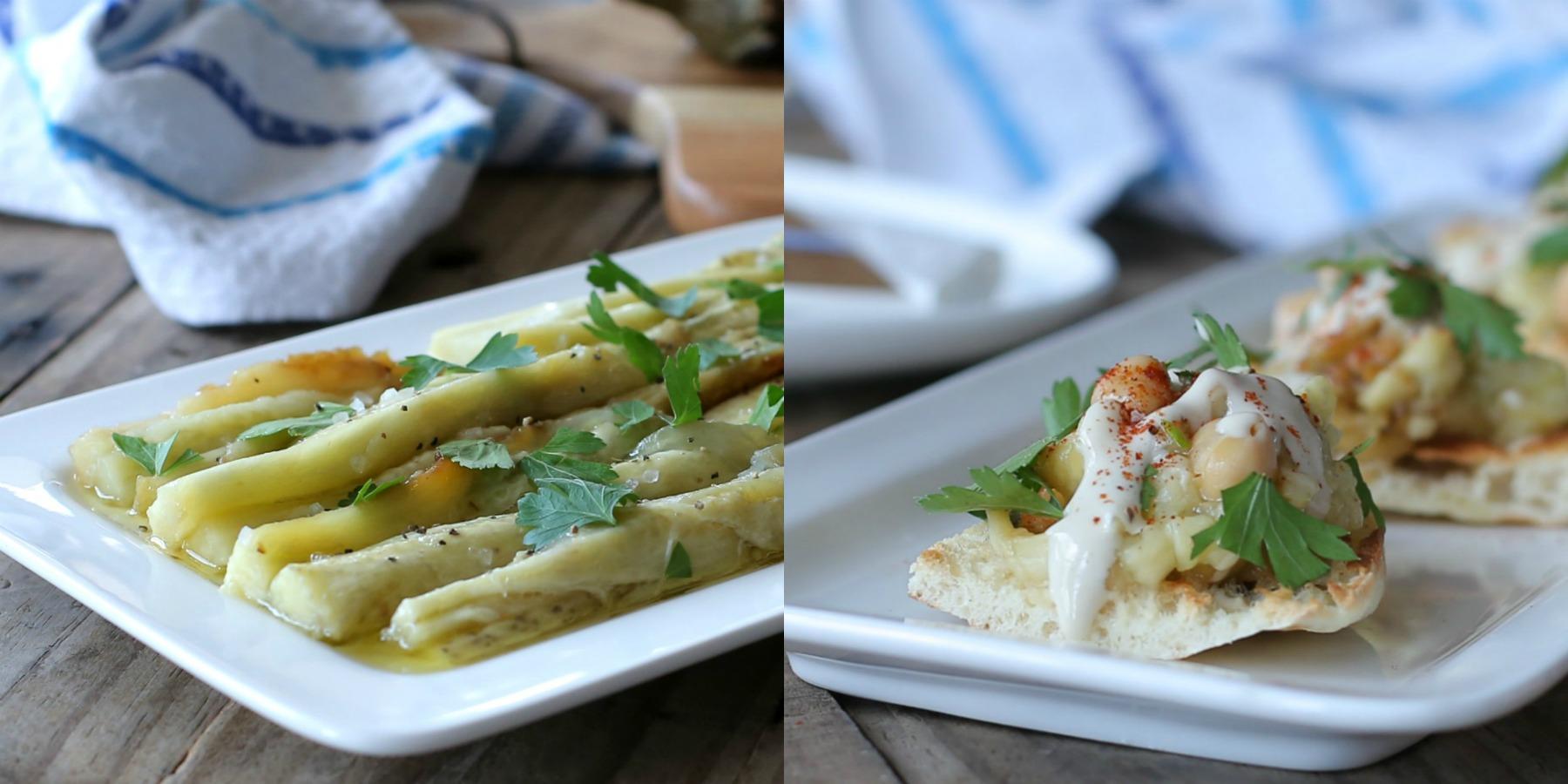 שתי מנות חציל קלוי בפעם אחת - רק לבחור מה להגיש_חציל קלוי בתנור_מתכון מנצח_בלוג אוכל ואירוח בסטייל_צילום: טליה הדר