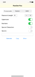 PassGen Plus Main Screen