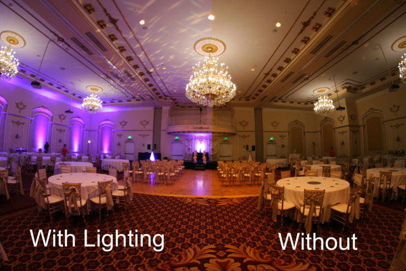 Davenport Hotel Wedding With and Without Lighting