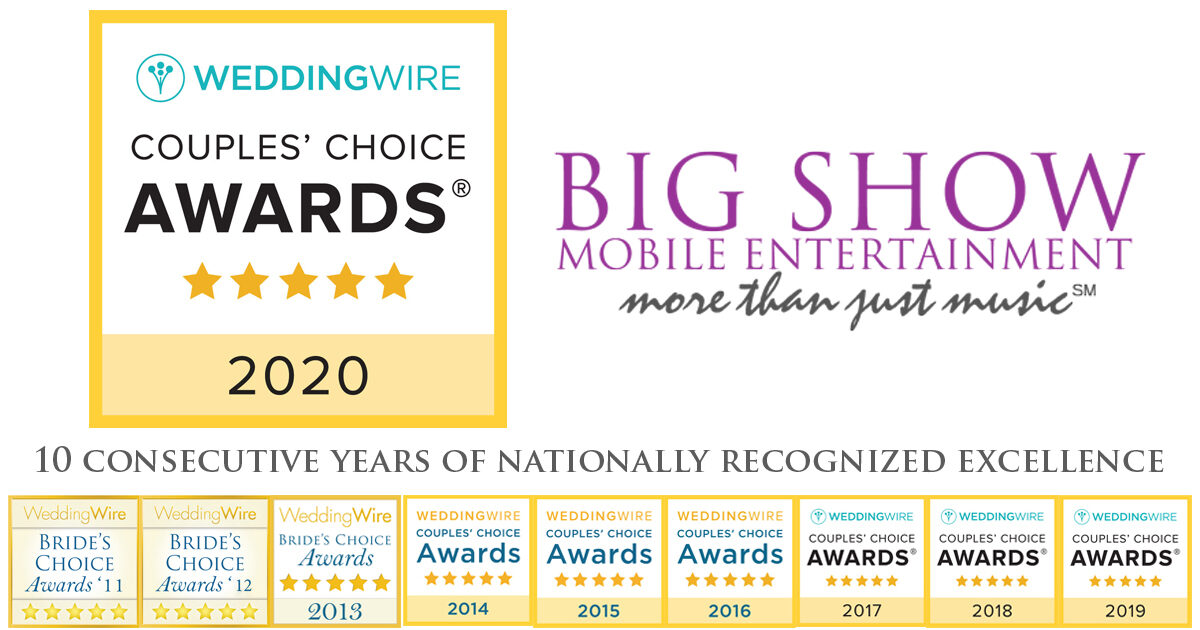 Spokane wedding DJ big show mobile entertainment, 10 consecutive years of awards from weddingwire