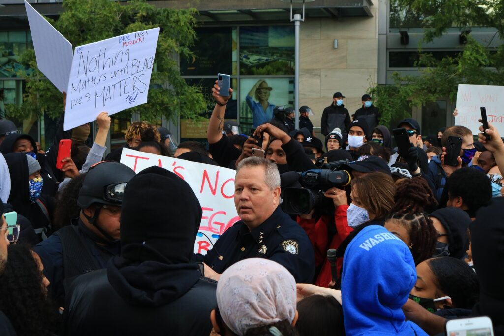 Bellevue Police Chief Steve Mylett on May 31, 2020 Protest in Downtown Bellevue