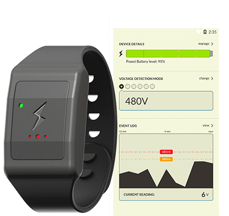 wearable watch in front and screenshot of app on mobile behind