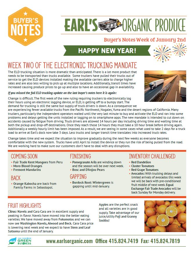 Buyer's Notes January 2nd Page 1