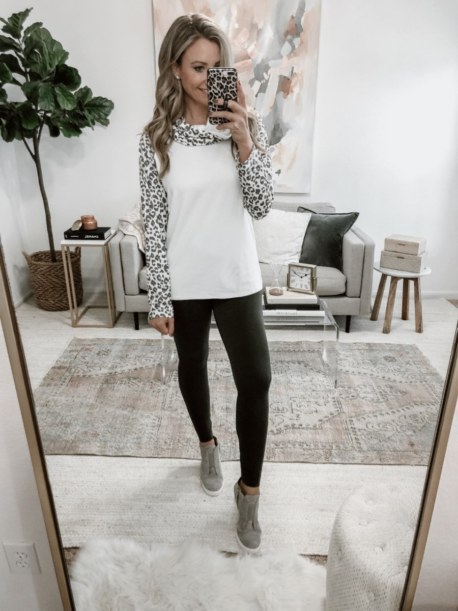 amazon finds | 5 Best Amazon Leggings Reviewed And Rated by popular Houston fashion blog, Haute and Humid: image of a woman wearing Amazon Amazon Essentials Women's Performance High-Rise Full Length Active Legging and Amazon LAMISSCHE Womens Casual Sweatshirts Long Sleeve Leopard Print Tops Cowl Neck Raglan Shirts.