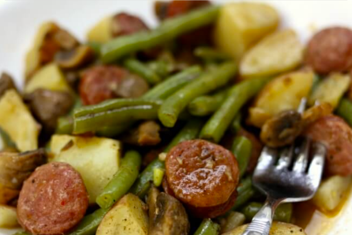 quarantine recipes | Stuck at Home Recipes by popular Houston lifestyle blog, Haute and Humid: image of Instant Pot cajun sausage, green beans, and potatoes.