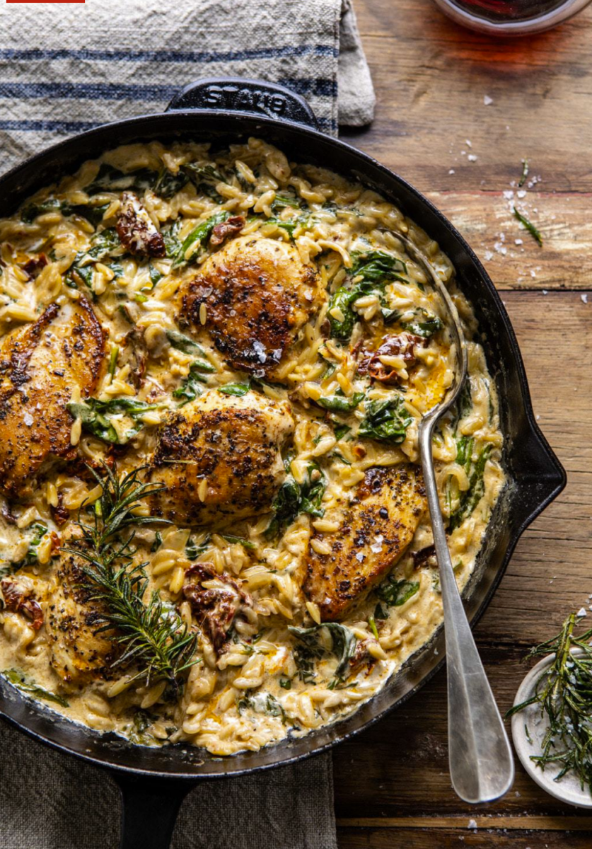 chicken orzo | Stuck at Home Recipes by popular Houston lifestyle blog, Haute and Humid: image of chicken orzo.