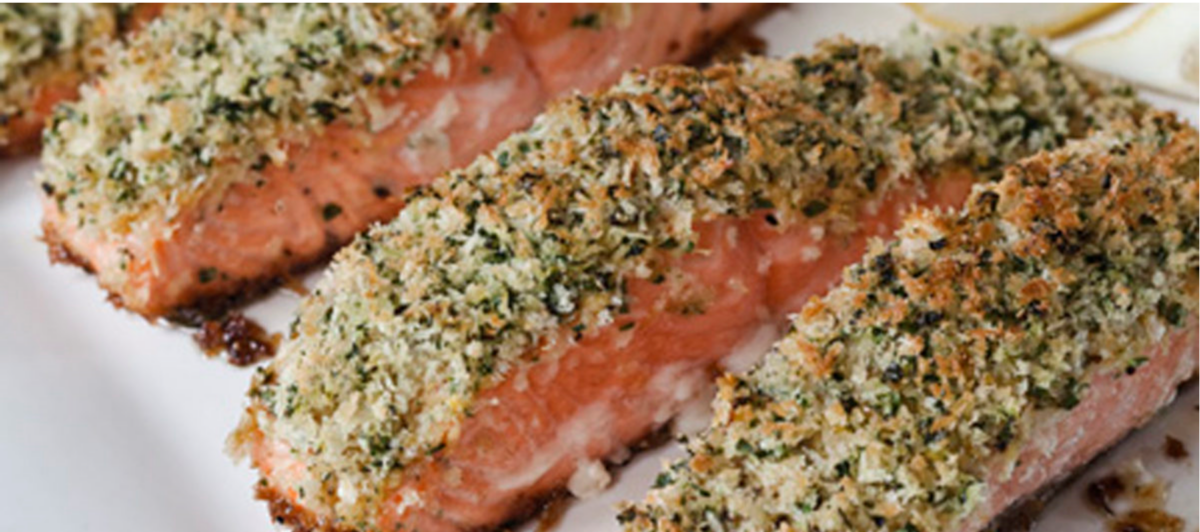 ina garten salmon | Stuck at Home Recipes by popular Houston lifestyle blog, Haute and Humid: image of panko crusted salmon.