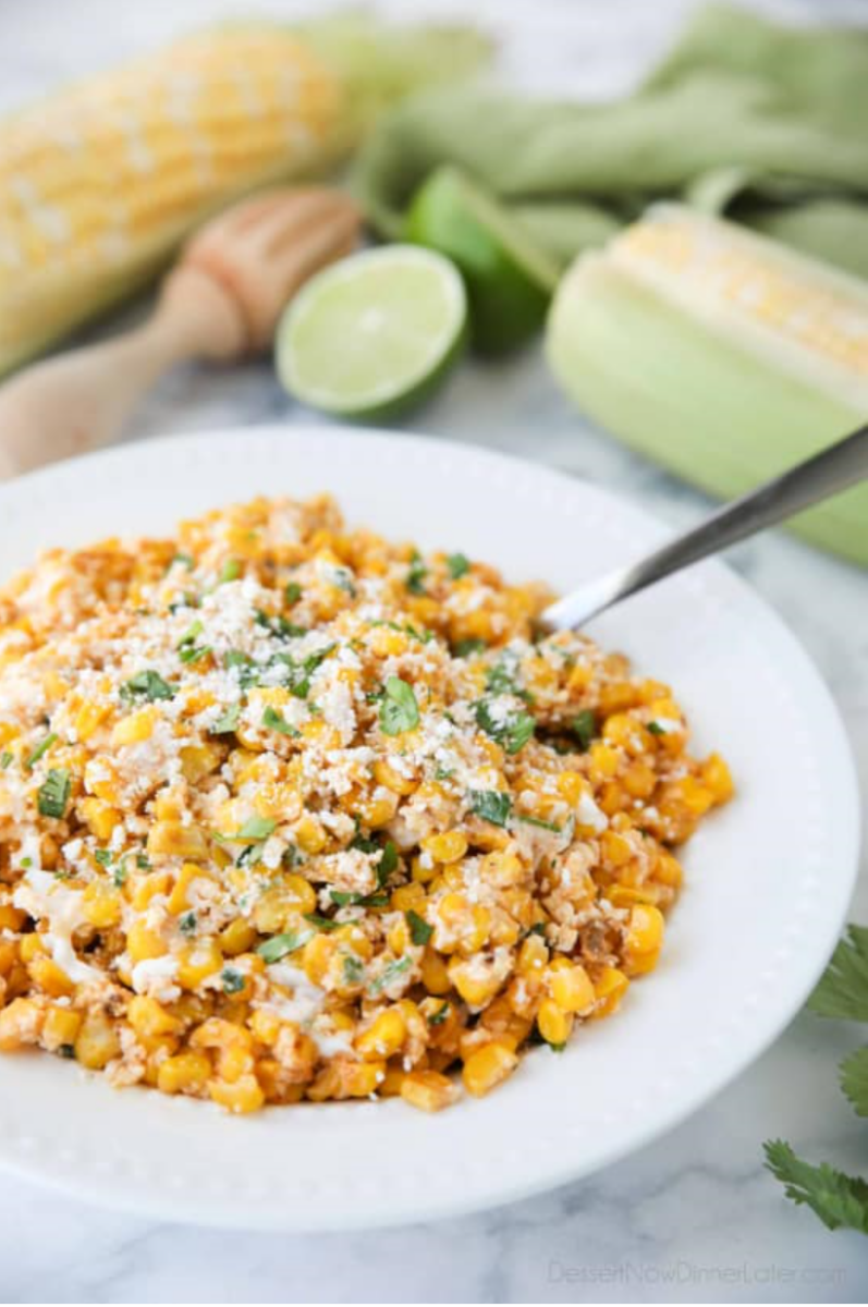 mexican street corn | Stuck at Home Recipes by popular Houston lifestyle blog, Haute and Humid: image of Mexican street corn salad.
