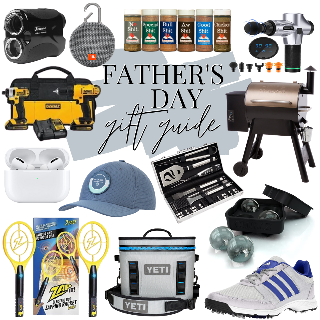 fathers day gifts | Father' Day Gift Ideas by popular Houston lifestyle blog, Haute and Humid: collage image of bluetooth speaker, massage gun, grilling spices, DeWalt drills, AirPods, ball cap, grilling utensils, Adidas sneakers, Zapit, Yeti cooler, and Traeger grill.