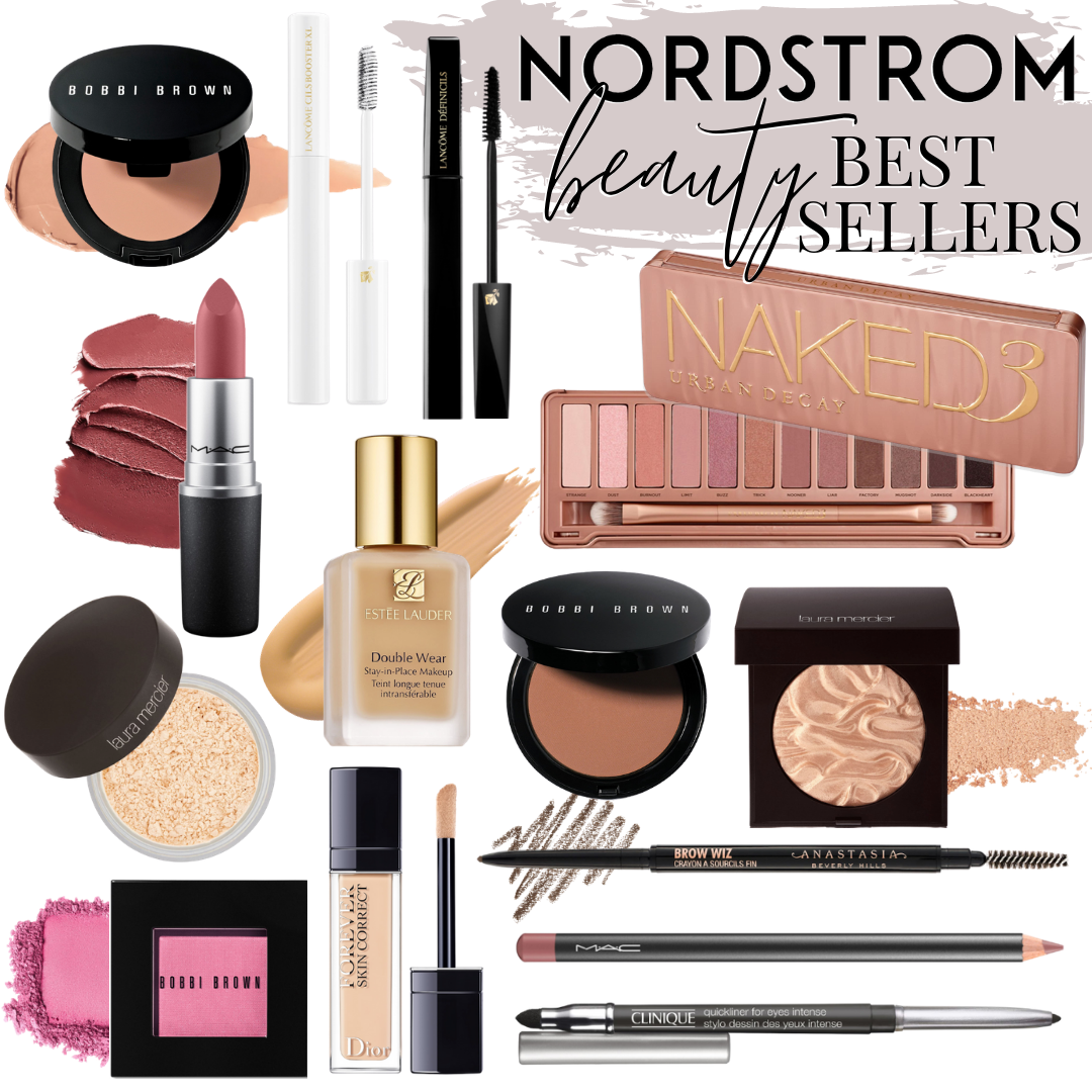 Nordstrom Beauty Best Sellers | Nordstrom Beauty by popular Houston beauty blog, Haute and Humid: image of Bobbi brown bronzer, Bobbi Brown eye shadow, MAC lipstick, MAC lip pencil, Clinique eyebrow pencil, Naked eyeshadow pallet, and Dior skin correct.