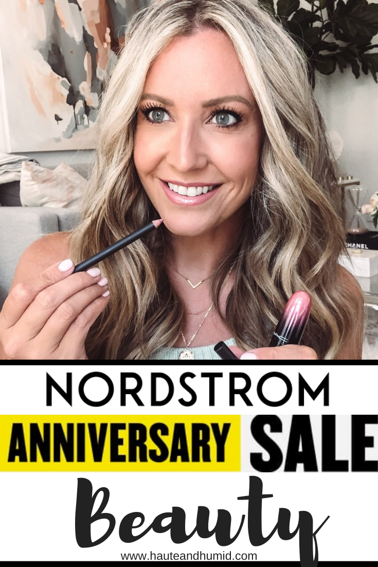 Best Beauty Deals From Nordstrom's Anniversary Sale | Nordstrom Anniversary Sale by popular Houston beauty blog, Haute and Humid: Pinterest image of a woman holding some Mac lipliner and lipstick.