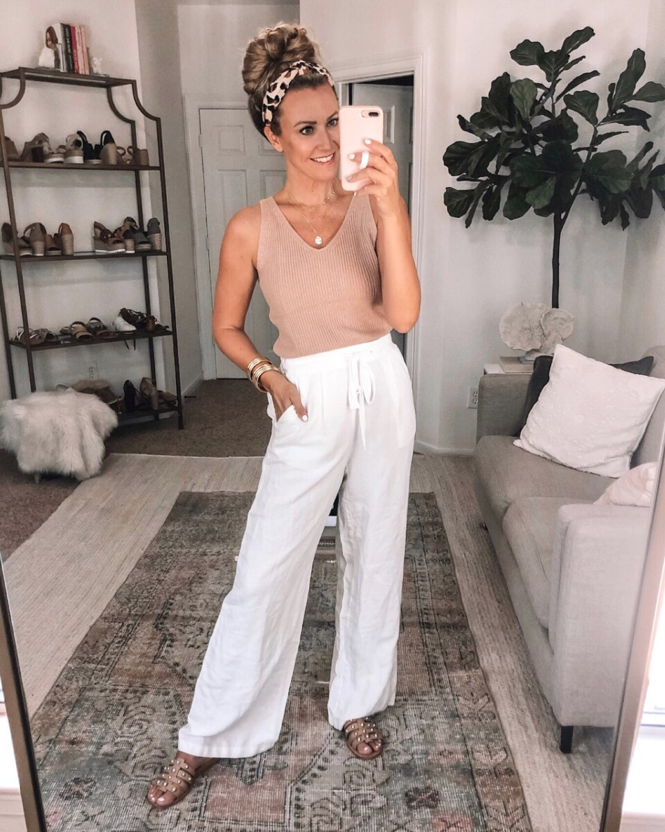amazon tank   Best Amazon Products by popular Houston life and style blog: image of a woman wearing a knit tank and white drawstring pants.