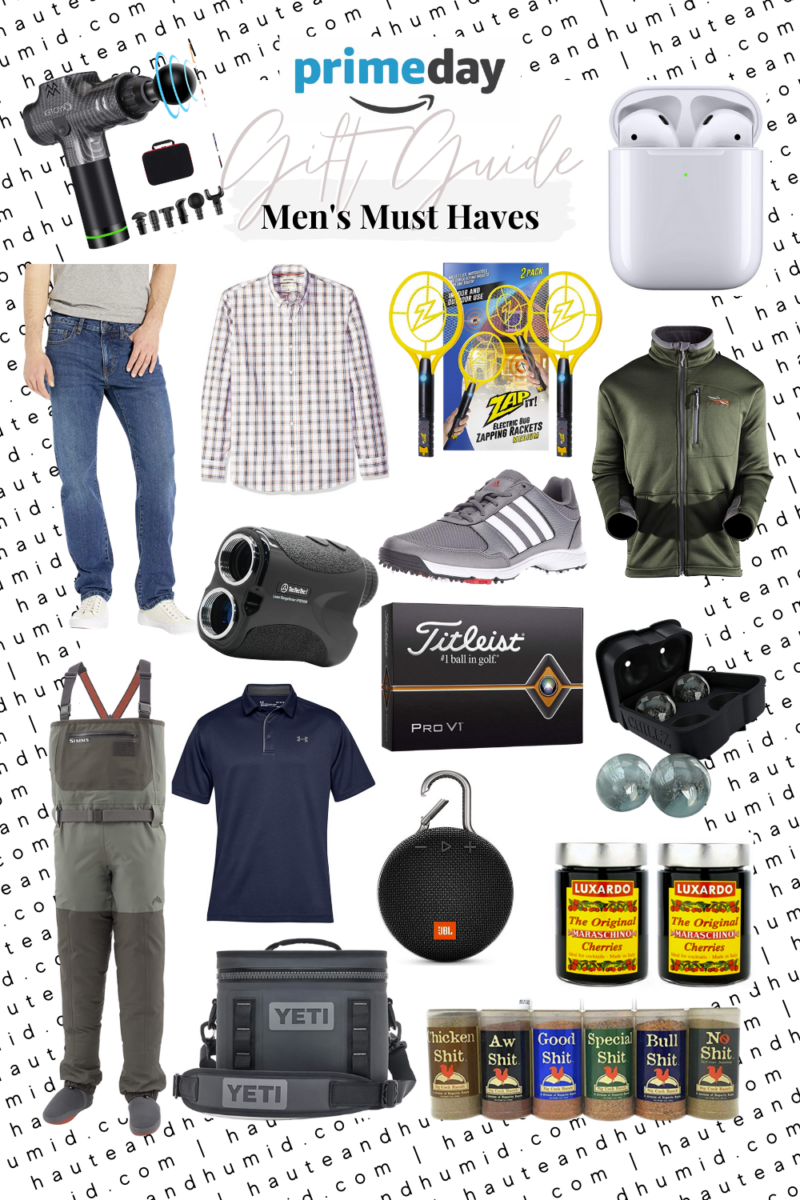 amazon mens gift guide | Best Amazon Prime by popular Houston life and style blog, Haute and Humid: collage image of Amazon Binoculars, Under Armour Golf Shirt, Waders, Outdoorsman Jacket, Adidas Golf Shoes, Button Front Shirt, Golf Balls, Grilling & Smoking Spices, Yeti Hopper Cooler, Fly Zapper Pack, JBL Clip Speaker, Golf Ball Range Finder, Air Pods with Charging Case, Massage Gun, Ice Ball Maker, Cocktail Cherries, and Amazon Fire Stick