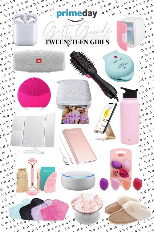 tween gift guide | Best Amazon Prime by popular Houston life and style blog, Haute and Humid: collage image of Amazon Cell Phone Stand, Makeup Sponges, Insulated Water Bottle, Makeup Eraser Cloths, Airpods With Charging Case, Echo Dot, Makeup Mirror, Skincare Fridge, Jade Roller, Portable Speake, Slippers, Foreo Cleanser, Hair Brush Dryer, Hand Held Printer, Popsocket, and Mini Waffle Maker.