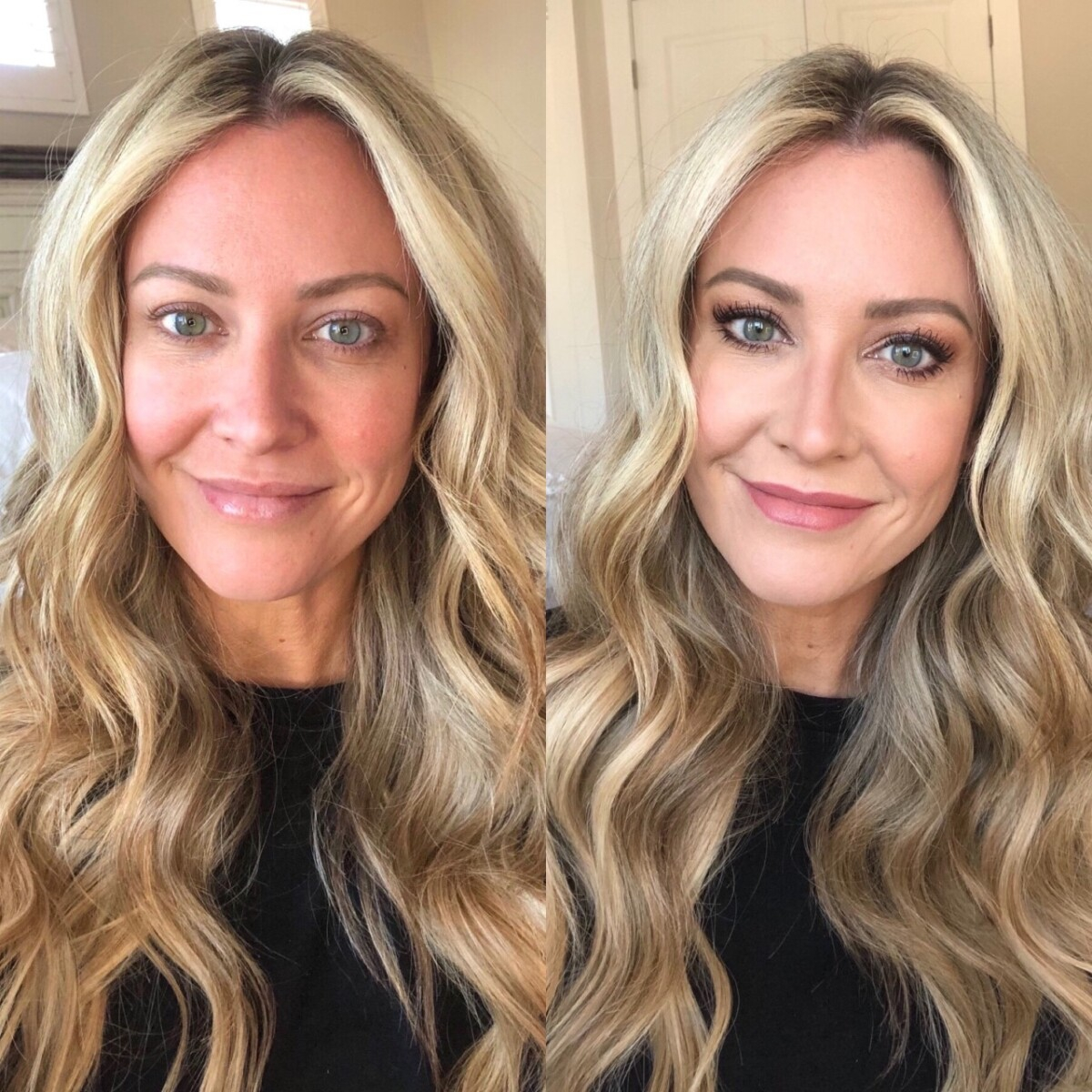 holiday beauty | Nordstrom Beauty by popular Houston beauty blog, Haute and Humid: side by side image of a woman with and without makeup.