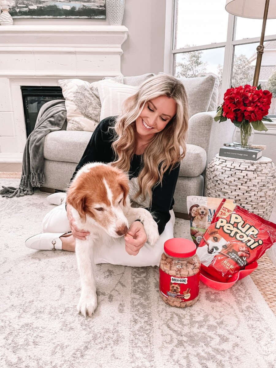 Valentine's Day Dog |Milk Bone Dog Treats by popular Houston lifestyle blog, Haute and Humid: image of a woman and her dog sitting next to Milk Bone Pupperoni and other Milk Bone treats.