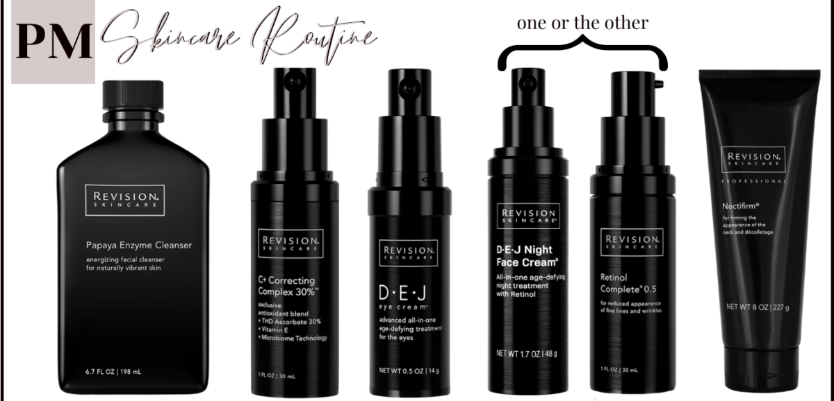 night time skincare routine |Anti Aging Skincare by popular Houston beauty blog, Haute and Humid: image of Revision skincare products.
