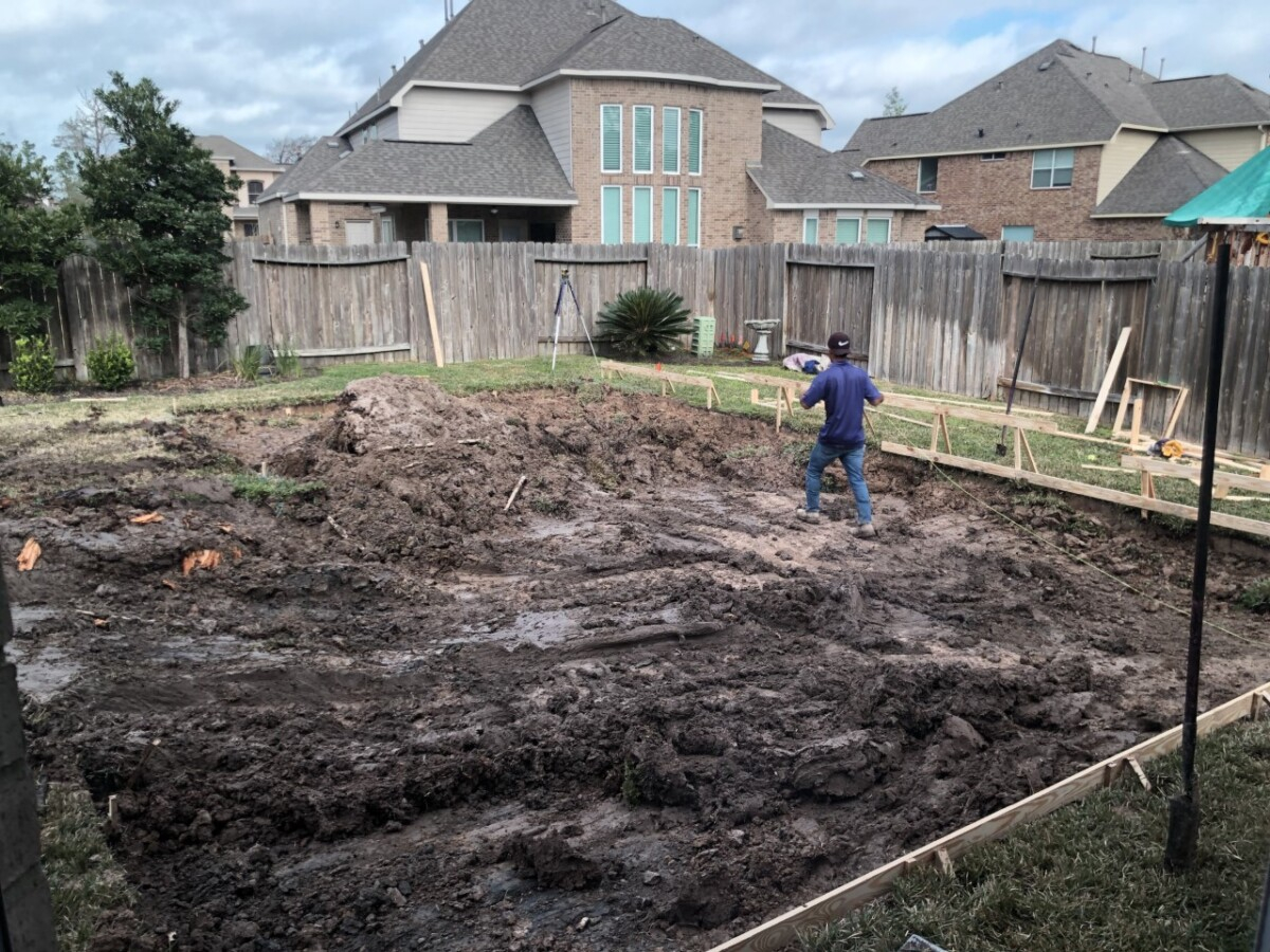 pool build   pool dig   pool before and after   Outdoor Kitchen by popular Houston life and style blog, Haute and Humid: image of people building a pool in a backyard.