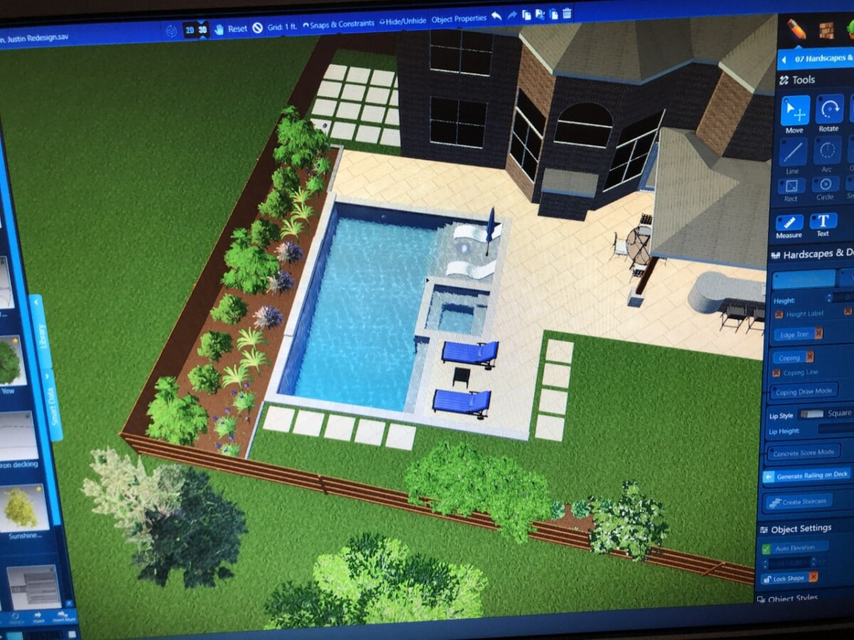 pool rendering   pool dig   pool before and after   Outdoor Kitchen by popular Houston life and style blog, Haute and Humid: image of a backyard digital blue print.
