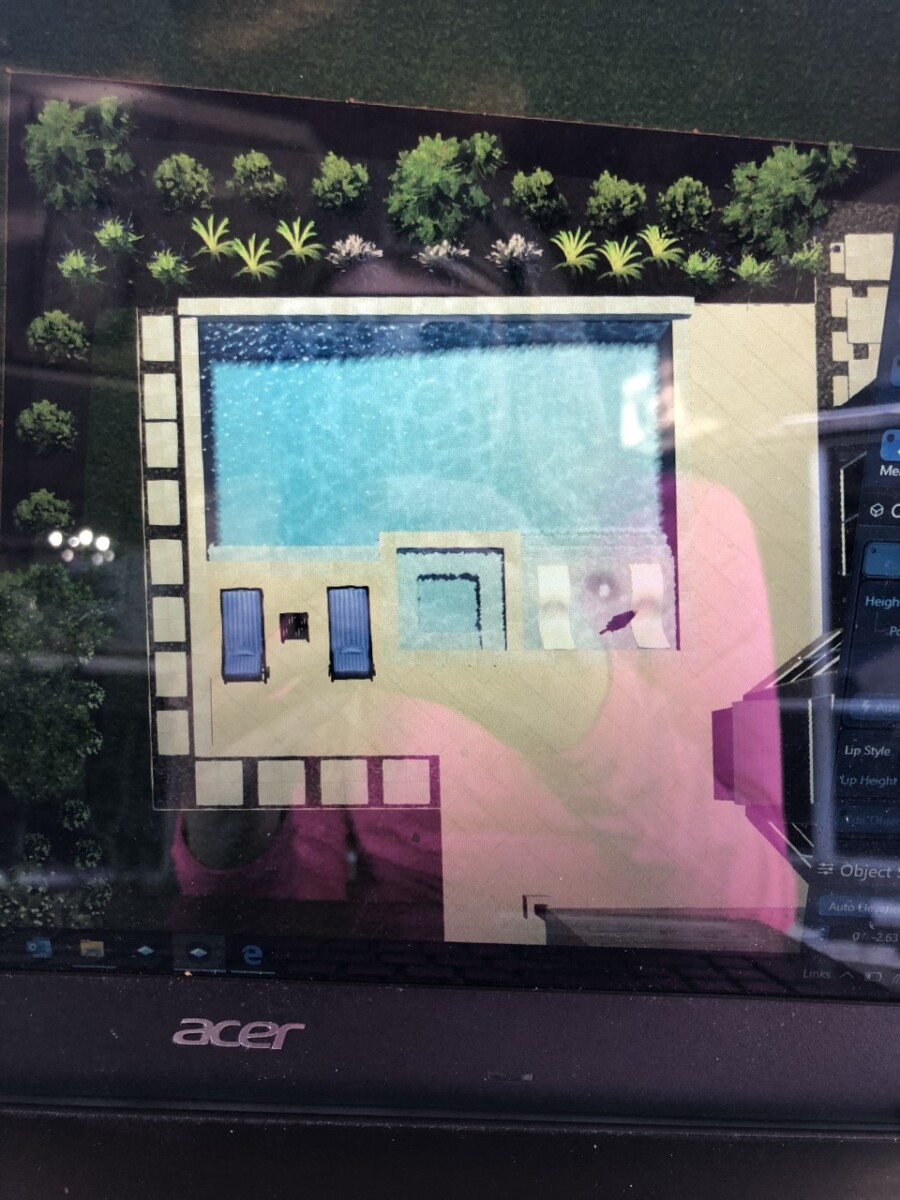 pool design   pool dig   pool before and after   Outdoor Kitchen by popular Houston life and style blog, Haute and Humid: image of a digital pool design.