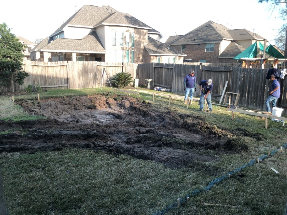 pool dig   pool before and after   Outdoor Kitchen by popular Houston life and style blog, Haute and Humid: image of people digging a pool in the backyard.