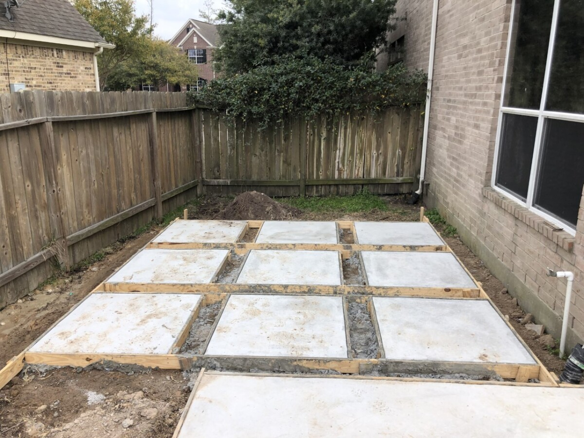 pool design   pool dig   pool before and after   Outdoor Kitchen by popular Houston life and style blog, Haute and Humid: image of spaced cement square slabs.