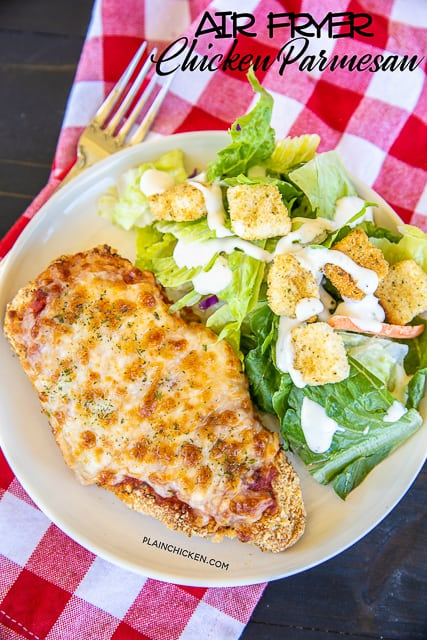 chicken parm | Summer Dinner Ideas by popular Houston lifestyle blog, Haute and Humid: image of air fryer chicken parmesan.
