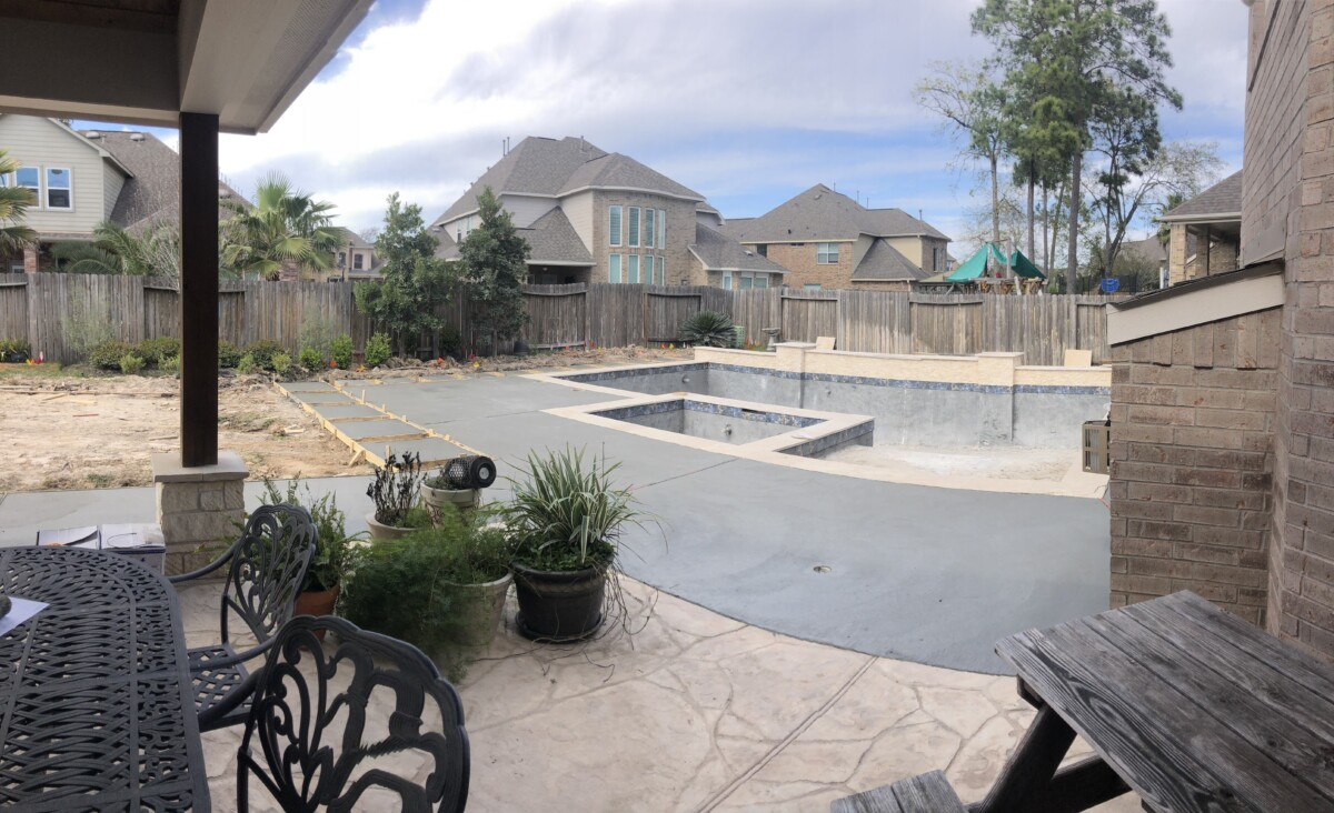 pool design   pool dig   pool before and after   Outdoor Kitchen by popular Houston life and style blog, Haute and Humid: image of pool decking.
