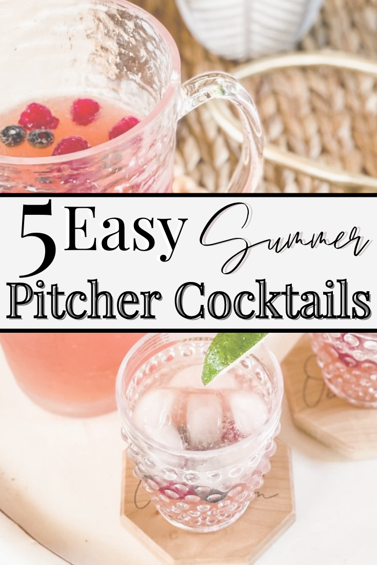 summer cocktails | Pitcher Cocktails by popular Houston lifestyle blog, Haute and Humid: Pinterest image of a cocktail drink in a glass pitcher next to some hobnail glasses on octagon shaped wooden coasters.