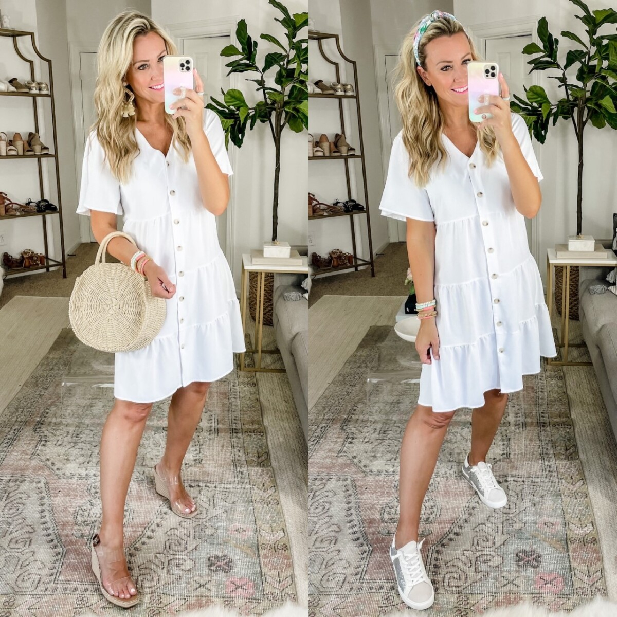 amazon summer dress | Amazon Prime Day by popular Houston fashion blog, Haute and Humid: collage image of a woman wearing a white button front mini dress, white sneakers, clear strap platform espadrilles, knot headband, raffia statement earrings, and holding a woven circular handbag.