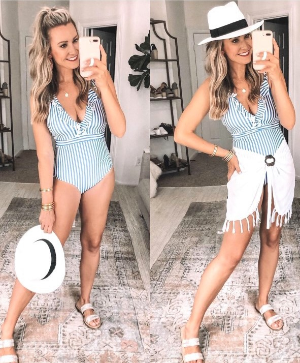 amazon swim | Amazon Prime Day by popular Houston fashion blog, Haute and Humid: collage image of a woman wearing a green and white stripe ruffle one piece swimsuit, white straw fedora, white strap slide sandals and a white tassel sarong.