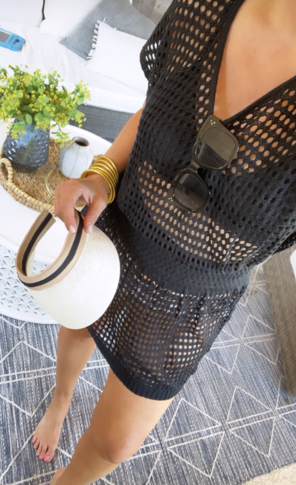 swimsuit coverup amazon | Amazon Prime Day by popular Houston fashion blog, Haute and Humid: image of a woman holding a white sun visor and wearing a black mesh coverup.